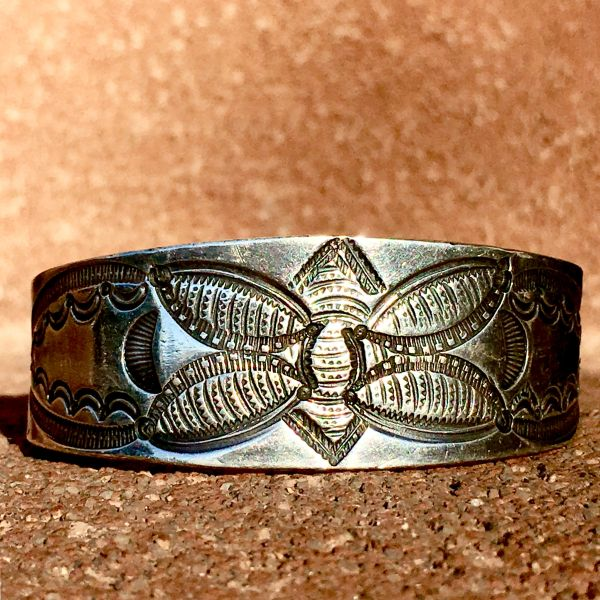 SOLD 1930s BUTTERFLY GEOMETRIC STAMPED THICK, WIDE & HEAVY SILVER CUFF BRACELET