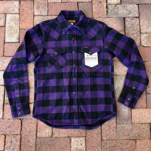 SOLD IRON HEART JAPAN FLANNEL PURLE BUFFALO PLAID WESTERN SNAP SHIRT