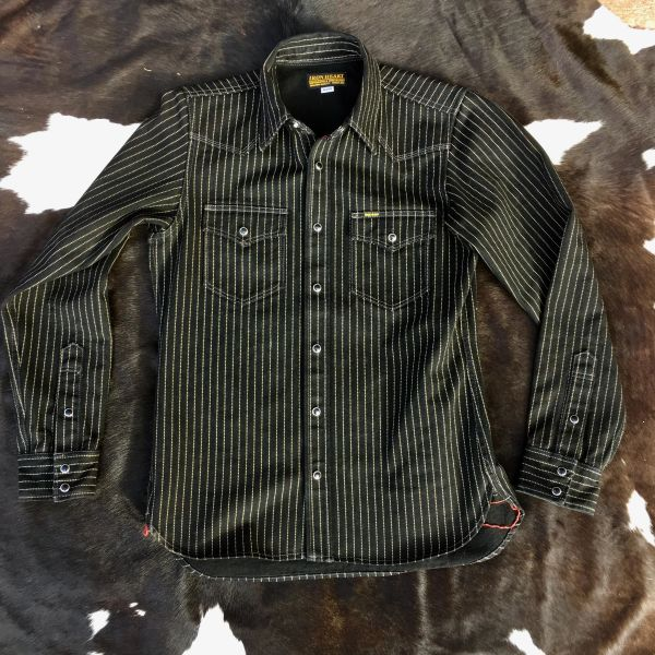 SOLD IRON HEART JAPAN BLACK WABASH DENIM WESTERN SHIRT JACKET