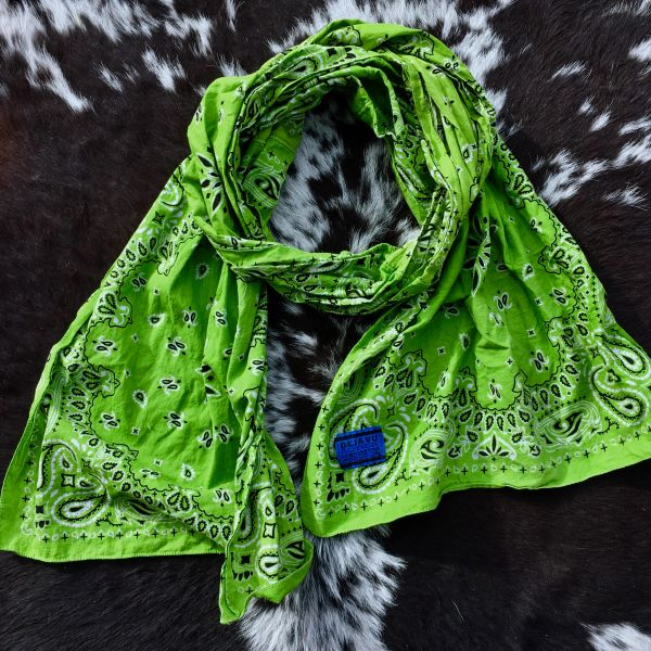 DARK YELLOW GREEN BANDANNA SCARF
