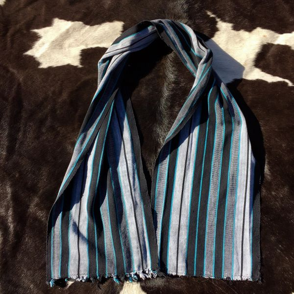 1800s KOBA TRIBAL AFRICAN BLACK & INDIGO STRIPED SCARF