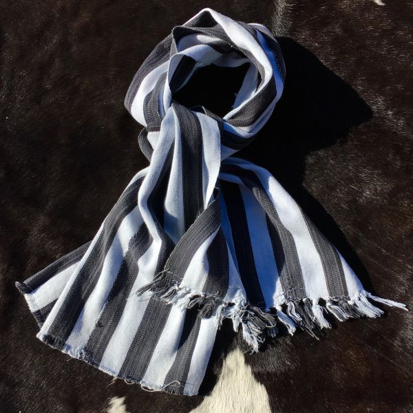 1800s KOBA TRIBAL AFRICAN BLACK & WHITE STRIPED SCARF