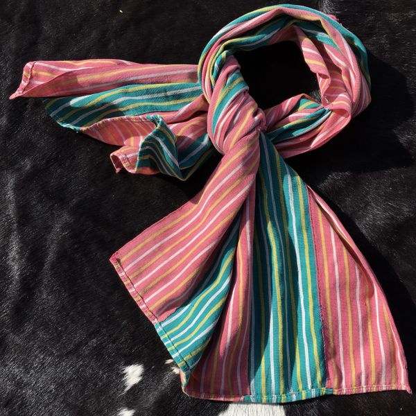 1800s KOBA TRIBAL AFRICAN WIDE GREEN, PINK & YELLOW STRIPED SCARF