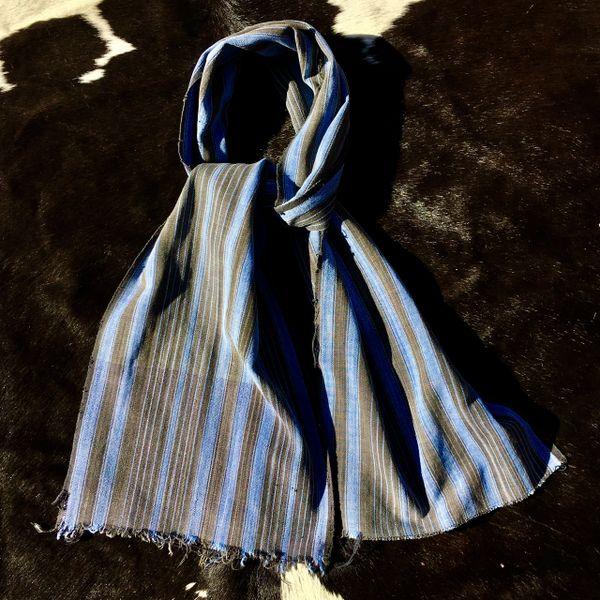 1800s KOBA TRIBAL AFRICAN SLIM GREY, BROWN & SKY BLUE STRIPED SCARF