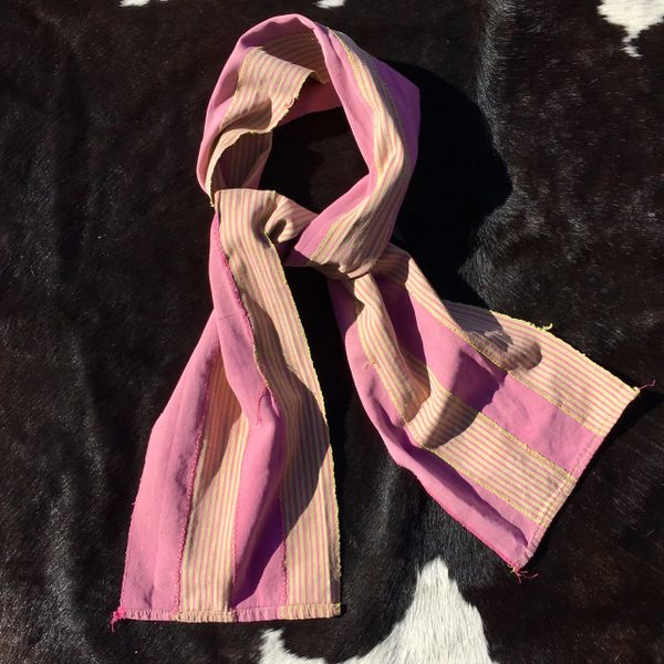 1800s KOBA TRIBAL AFRICAN SLIM PINK & YELLOW STRIPED SCARF
