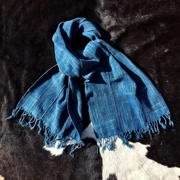 1800s FRINGED SOFT LIGHT BLUE INDIGO MOSSI TRIBE ON BURKINA FASSO AFRICA SCARF