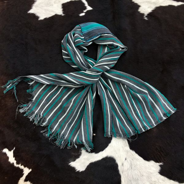 1800s PATCHED, STRIPED, FRINGED GREY, WHITE & GREEN KOBA TRIBE IN WEST AFRICA SCARF