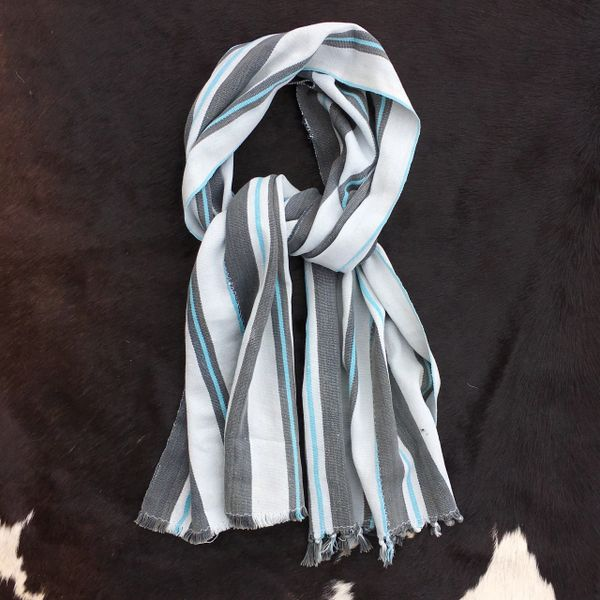 1800s WHITE, SKY BLUE, GREY STRIPED KOBA TRIBE IN MALI SCARF