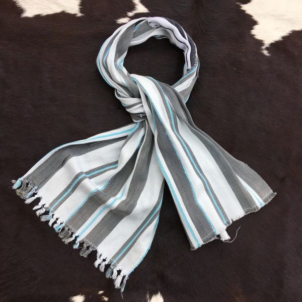 1800s PATCHED WHITE, SKY BLUE, GREY STRIPED KOBA TRIBE IN MALI SCARF