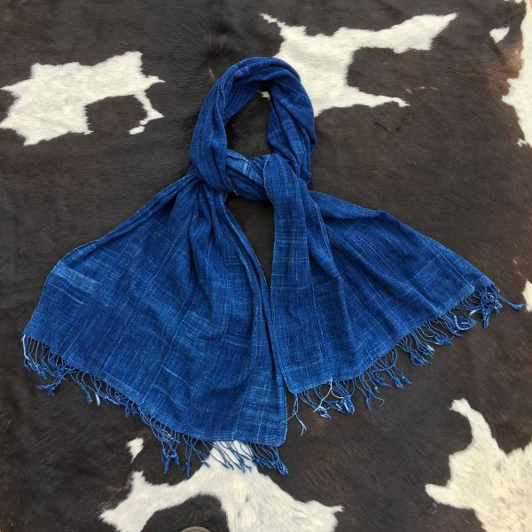 SOLD 1800s FRINGED SOFT THIN LONG INDIGO MOSSI TRIBE ON BURKINA FASSO AFRICA SCARF