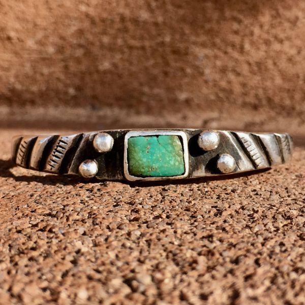 SOLD 1900s CHISELED & FILED INGOT SILVER & RECTANGLE GREEN TURQUOISE CUFF BRACELET