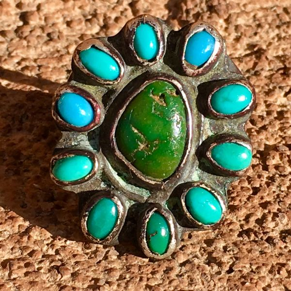 SOLD 1920s INGOT SILVER 11 BLUE & GREEN TURQUOISE STONE RING