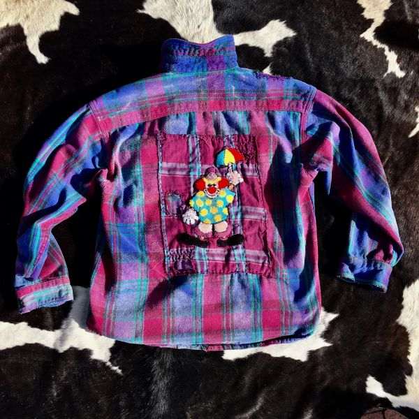 SHASHIKO BORO, 100 YEAR OLD BUTTONS, PURPLE PLAID FADED & PATCHED THICK FLANNEL PLAID SHIRT JACKET
