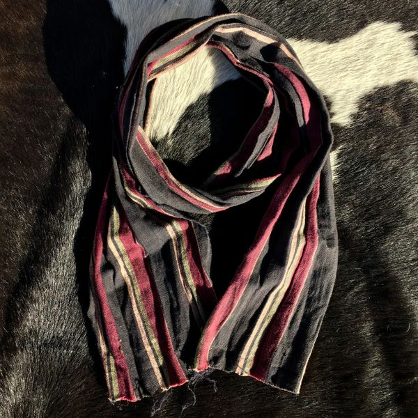 SOLD 1800s NARROW COTTON REDDISH PURPLE, PALE GREEN, BUTTER YELLOW & BLACK STRIPED ASCOT SCARF