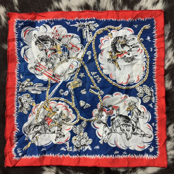 1950s RODEO COWBOYS HANKERCHIEF POCKET SQUARE