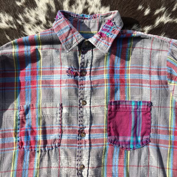 SHASHIKO BORO 1980s LIGHTWEIGHT, SOFT, VIVID FLANNEL SHIRT HANDSEWN WITH PATCHES & EXTRA POCKET