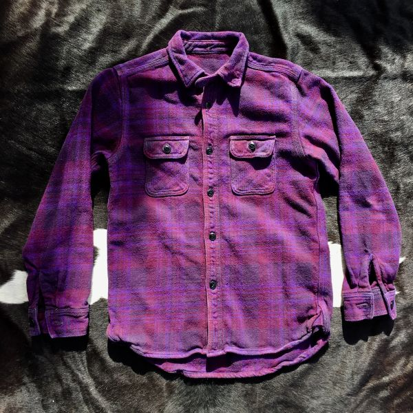 SOLD HIGH-END SUGARCANE GUSSETED, NECK STRAP, TRIPLE STITICHED OVERDYED PURPLE PLAID THICK COTTON FLANNEL SHIRT JACKET