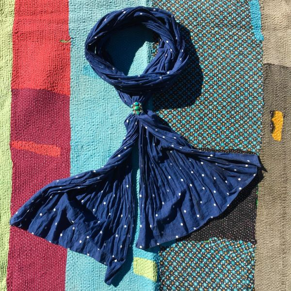 LONG NARROW COTTON HAND-SEWN TOGETHER HALF HEMMED POLKA DOT INDIGO BANDANNA SCARF
