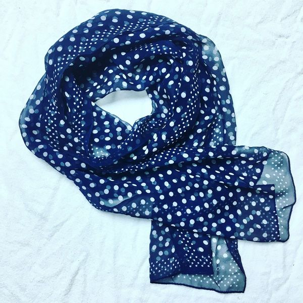 1980s TRANSLUCENT INDIGO & POLKA DOT LONG SCARF