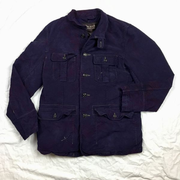 EZRA FITCH X JASON POLLAK PLUSH 100% COTTON MOLESKINE HEAVY PLUSH WINTER SAFARI COAT IN BIBLICAL PURPLE