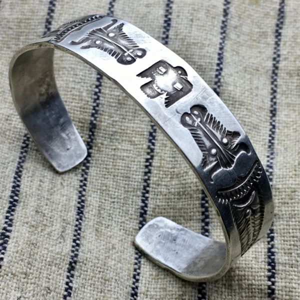 SOLD 1910s LEAVES, THUNDERBIRD LOGOS, BULLS, EXCEPTIONALLY RARE PROVABLE FRED HARVEY INGOT SILVER BIG WRIST CUFF BRACELET