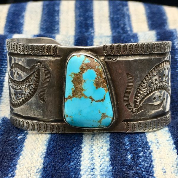 SOLD 1930s WIDE CHISELED FILE STAMPS BIG BLUE TURQUOISE CUFF BIG WRIST