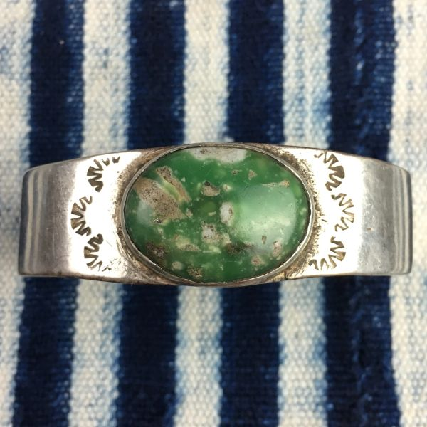 1920s THICK PUEBLO INGOT SILVER AND BIG OVAL GREEN TURQUOISE BRACELET MOSTLY BLANK WITH EARLY FILE STAMPS BIG WRIST