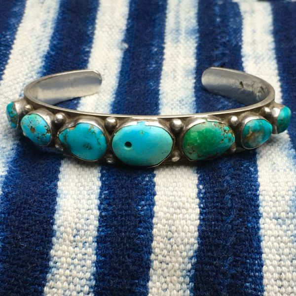 1910s (BEZEL IS FIXED NOW) INGOT SILVER ROW CUFF BLUE & GREEN TURQUOISE EARLY FILE STAMP