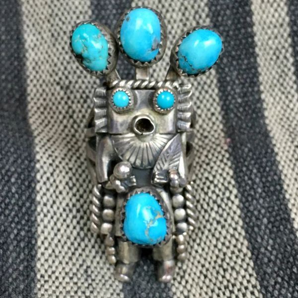 SOLD 1960s KACHINA SILVER RING SIGNED BY HELEN LONG WITH 6 BLUE STABALIZED TURQUOISE STONES