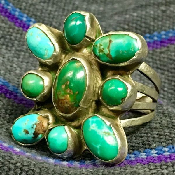 1920s INGOT SILVER BLUE & GREEN TURQUOISE BUTTERFLY PATTERN RING