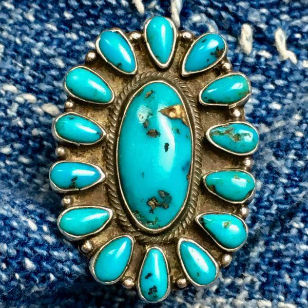 1920s INGOT SILVER 15 GEM QUALITY BLUE TURQUOISE STONE RING