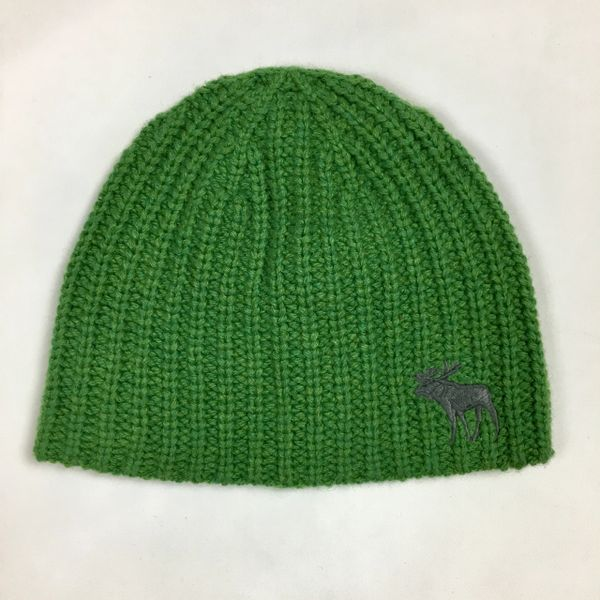 SMALL GREEN ABERCROMBIE COTTON, ANGORA & SYNTHETIC MIX KNIT BEANIE