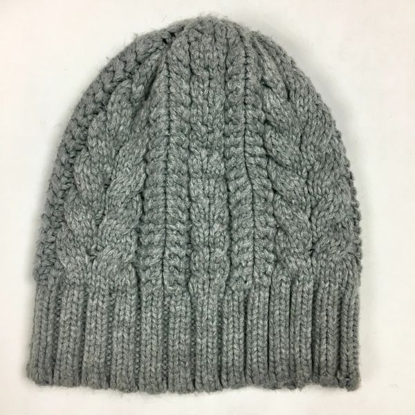 GREY SYNTHETIC CABLEKNIT BEANIE