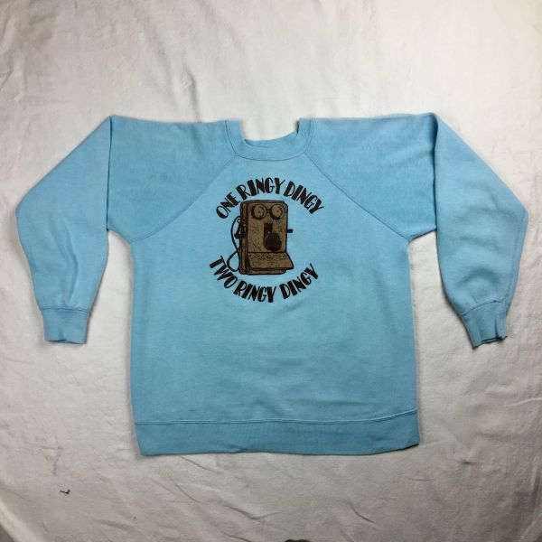 SOLD 1960s LAUGH IN LILLY TOMLIN 50/50 SWEATSHIRT XS-S