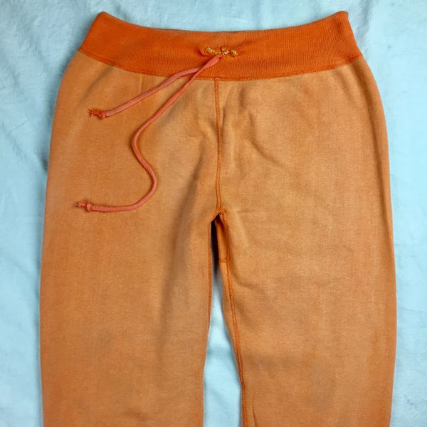 SOLD 1950s 100% COTTON GUSSETED SWEATPANTS L-XL SUN FADED ORANGE