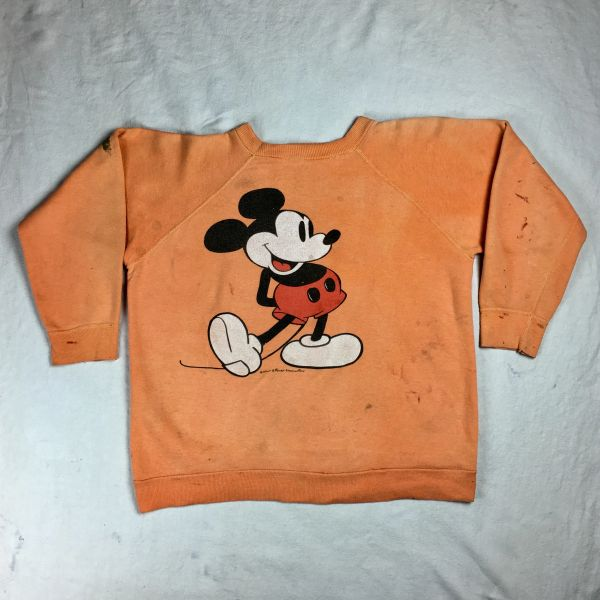 SOLD 1980s MICKEY MOUSE SUN FADED PAINT STAINED (not blood) 100% COTTON SWEATSHIRT XS-S