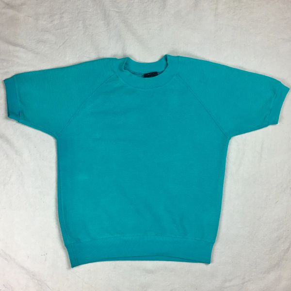 1980s TEXTURED SIDE OUT 100% COTTON SHORT SLEEVED TURQUOISE SWEARSHIRT XS-S