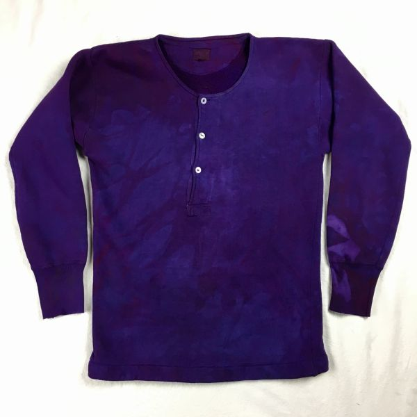 SOLD 1920s JAPANESE 100% COTTON SWEATSHIRT HENLEY IN NOT-FADE-AWAY PURPLE S-M