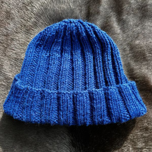 SOLD 100% WOOL JAPANESE BRAND UNIQULO INDIGO BLUE KNIT RIBBED KNIT WOOL CAP HAT