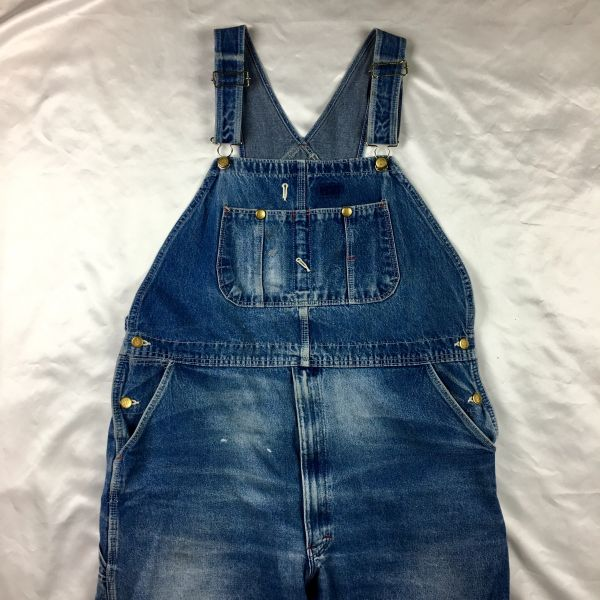 "1980s FADED MEDIUM BLUE DENIM OVERALLS BY DICKIES 44"" WAIST 29"" LONG ADJUSTABLE"