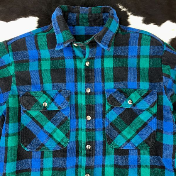 SOLD 1980s DARK GREEN, BLUE & BLACK THICK COTTON PLAID FLANNEL SHIRT XL