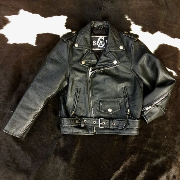 SOLD 1990s LITTLE 5 YEAR OLD BOY'S BLACK LEATHER BIKER JACKET