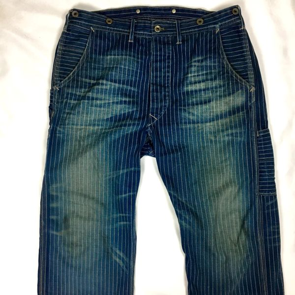 SOLD RRL RALPH LAUREN SOFT TWILL INDIGO FADED & DISTRESSED WABASH CARPENTER PANTS 35""
