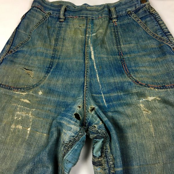 "SOLD 1950s REPAIRED & DESTROYED AGAIN SIDE ZIP JEANS 29"" WAIST"