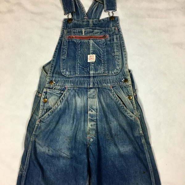 SOLD 1950s FADED & DISTRESSED DENIM OVERALLS BY RED CAMEL