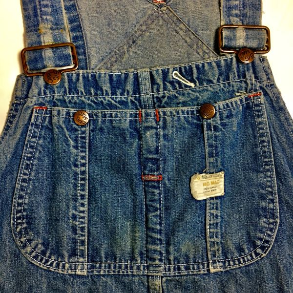 1950s FADED & DISTRESSED DENIM OVERALLS BY BIG MAC
