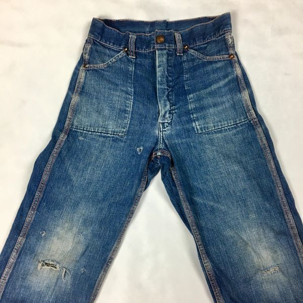 SOLD 1950s REPAIRED & DESTROYED AGAIN DISTRESSED DENIM JEANS FOR A 7 YEAR OLD BOY