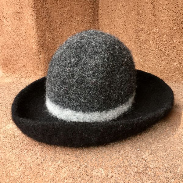 HAND FELTED WOOL MADE IN CALIFORNIA COWBOY HAT IN BLACK & GREY