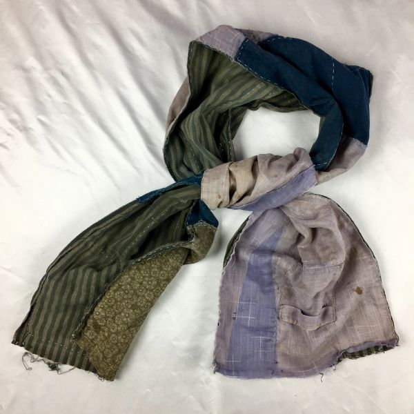 1800s JAPANESE STRIPED KATAZOME AIZOME INDIGO COTTON SCARF (1)