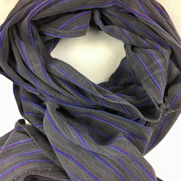 SOLD 1800s KOBA TRIBE AFRICAN DARK CHARCOAL GREY, PURPLE & BLUE STIPED EXTRA LONG SCARF